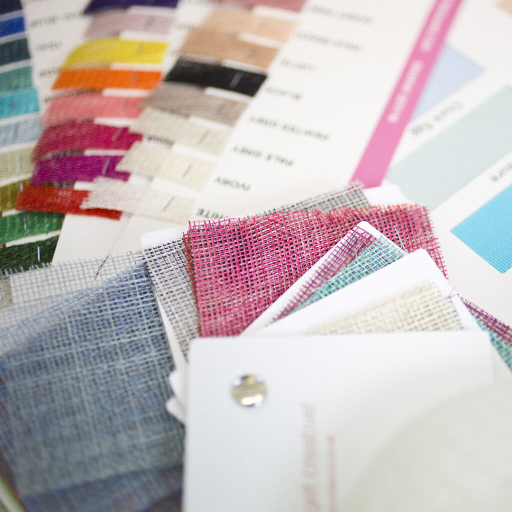 Colour swatches for creating bespoke hats and head pieces for any event.
